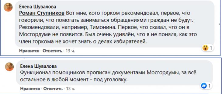 Скриншот ответа Елены Шуваловой под постом Дмитрия Локтева, Facebook