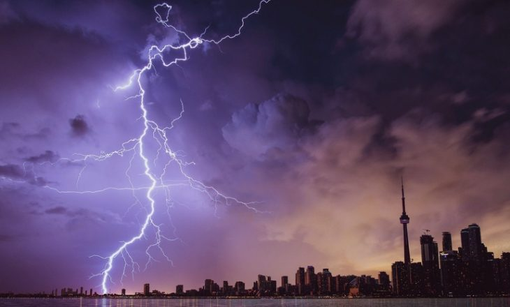 гроза молния город ночь погода